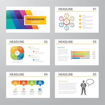 Set van infographic presentatiesjabloon plat ontwerp