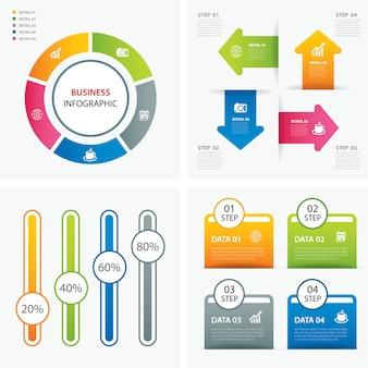 Set van infographic sjablonen plat ontwerp