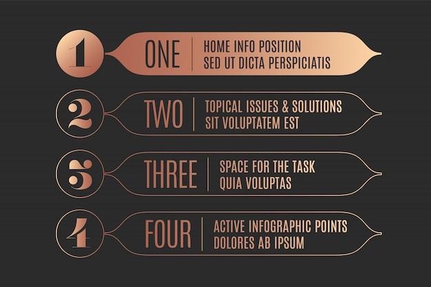 Set van infographic, vintage pijlen, banners, cijfers en tekst