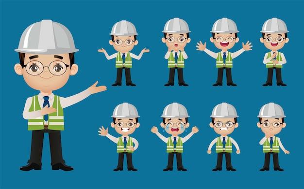 Set van ingenieur met verschillende emotie