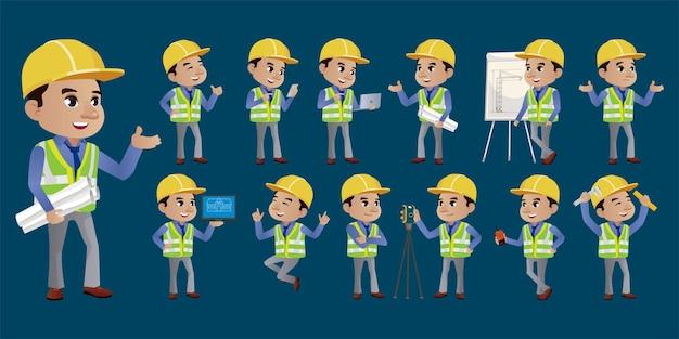Set van ingenieur met verschillende poses Premium Vector