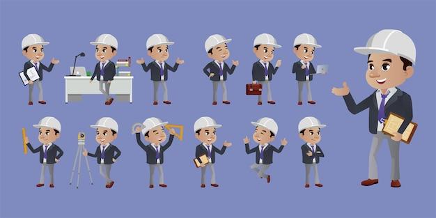 Set van ingenieur met verschillende poses