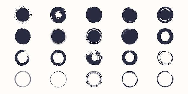 Set van inkt hand getrokken kwast cirkel vector.