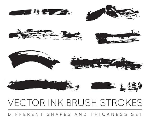 Set van inkt penseelstreken