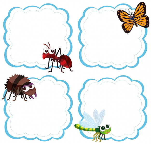 Set van insecten op de notitie