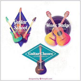 Set van insigne met gitaren in vintage stijl