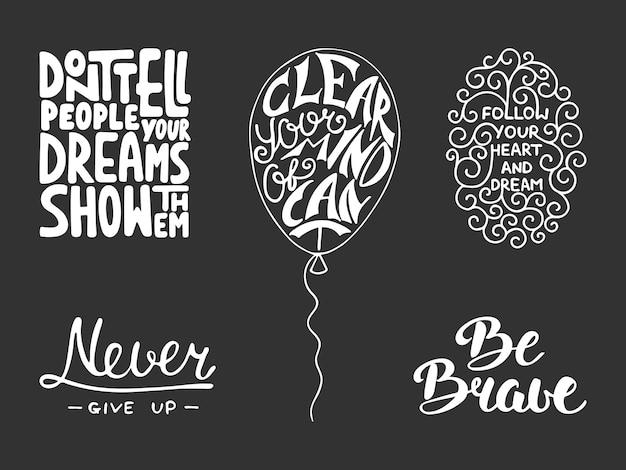 Set van inspirerende en motiverende letters