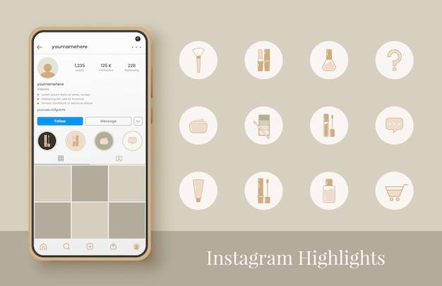 Set van instagram cosmetica hoogtepunt