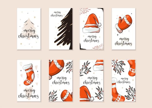 Set van instagram-kerstverhalen
