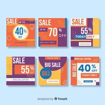 Set van instagram verkoop kleurrijke berichten