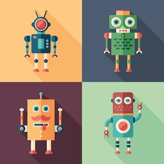 Set van intelligente robots platte vierkante pictogrammen met lange schaduwen.