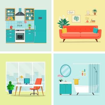 Set van interieur design roomwoonkamer kantoor aan huis keuken en badkamer platte vectorillustratie