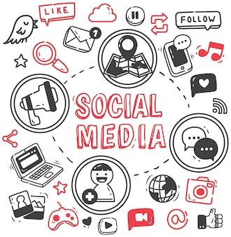 Set van internet en sociale media doodle
