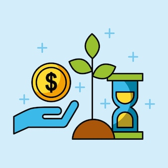 Set van investeringen in financiën en bedrijfsgroei