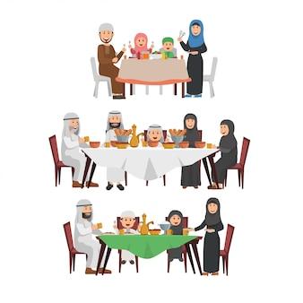 Set van islamitische familie genieten van iftar