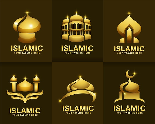 Set van islamitische gouden kleur en luxe logo
