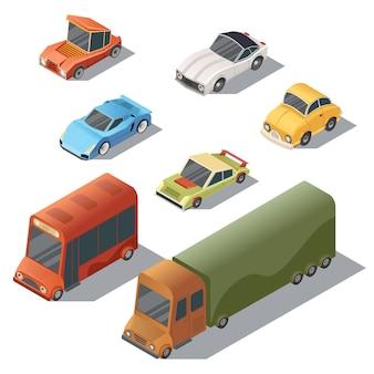 Set van isometrisch stedelijk vervoer. auto's met schaduwen op witte achtergrond worden geïsoleerd die