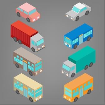 Set van isometrische auto-ontwerp
