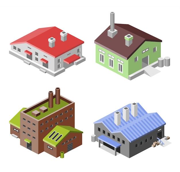 Set van isometrische fabrieken