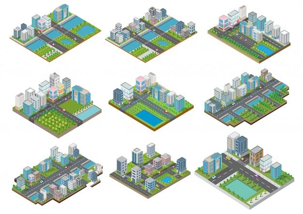 Set van isometrische gebouwen met tuin, rivier, weg en bomen
