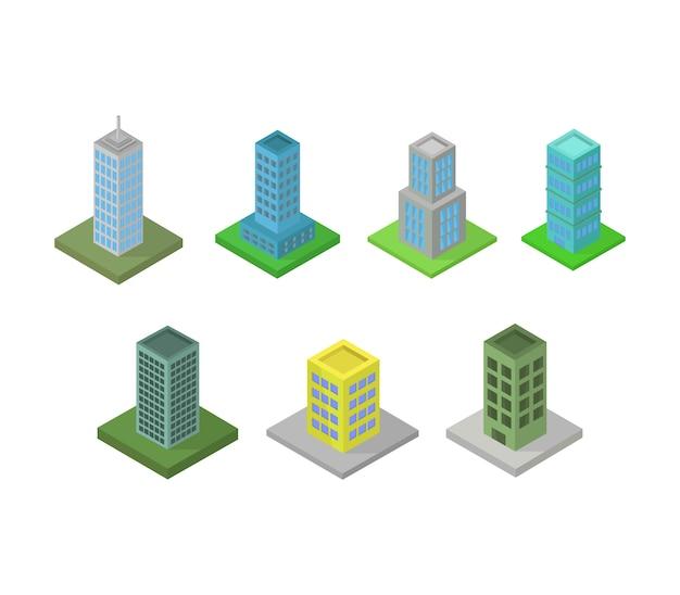 Set van isometrische gebouwen