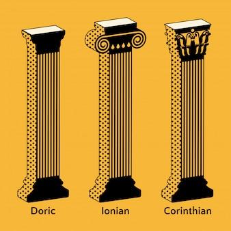 Set van isometrische iconen van antieke griekse kolommen in retro stijl