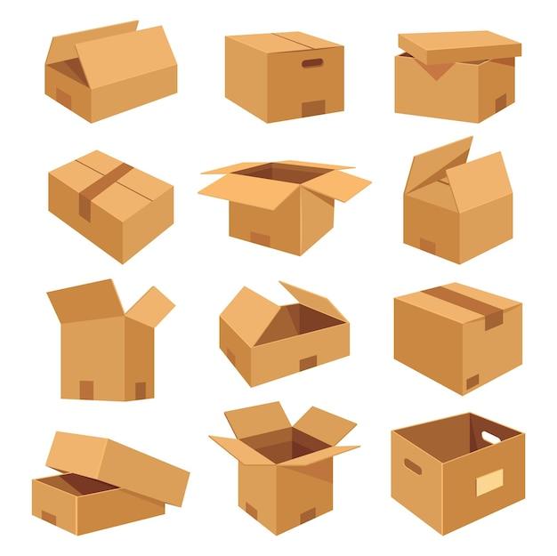 Set van isometrische realistische dozen plat pictogrammen