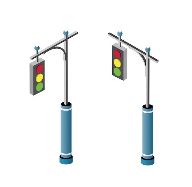 Set van isometrische stadsweg