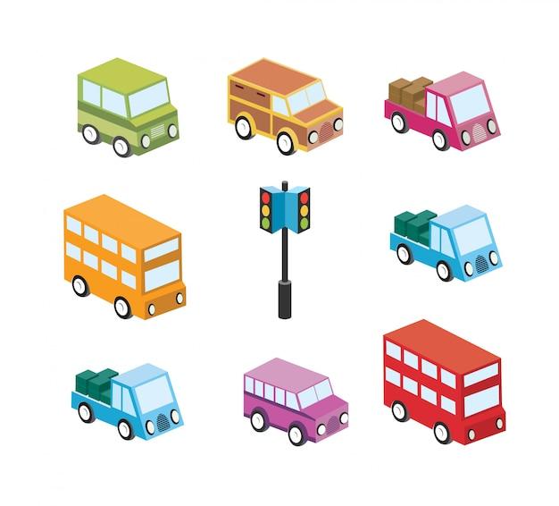 Set van isometrische taxi