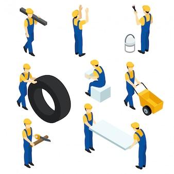 Set van isometrische werknemers, bouwvakkers, bouwers in de vorm.