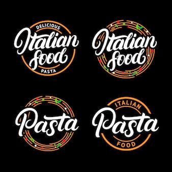 Set van italiaans eten en pasta handgeschreven belettering logo