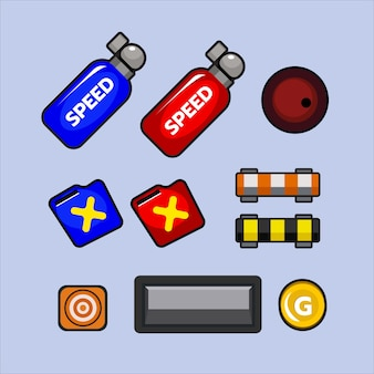 Set van item voor 2d racing-game of verkeersgame
