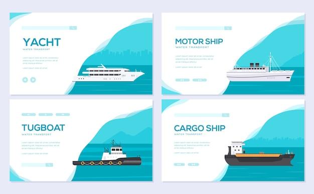 Set van jacht, boot, vrachtschip, stoomschip, veerboot, vissersboot, sleepboot, bulkcarrier, vaartuig, cruiseschip.