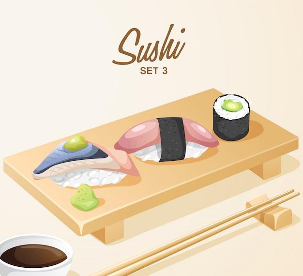 Set van japans eten: gemengde sushi ingesteld op houten plaat