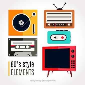 Set van jaren tachtig objecten in plat design
