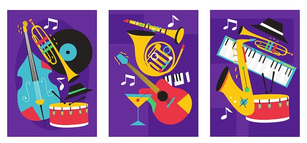 Set van jazz festival posters composities opgenomen saxofoon trombone klarinet viool contrabas piano trompet basdrum en banjo gitaar