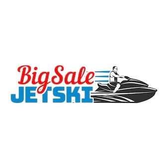 Set van jet ski grote verkoop logo, badges en emblemen geïsoleerd op een witte achtergrond. handel in vervoer over water