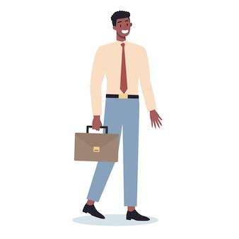 Set van jong bedrijfskarakter onderweg. mannelijke karakter lopen en houden een koffer. succesvolle werknemer, prestatieconcept.
