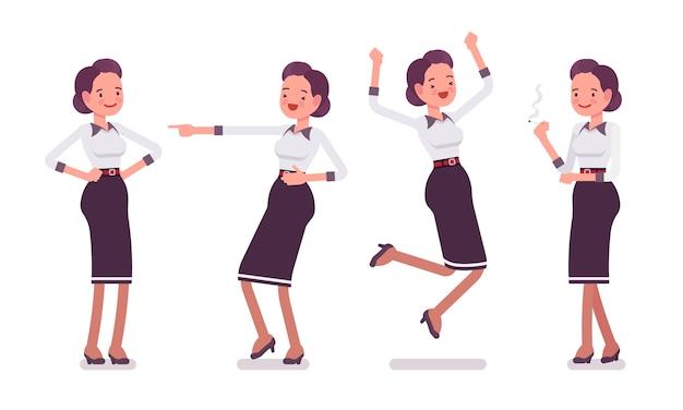 Set van jonge aantrekkelijke secretaresse die positieve emoties toont