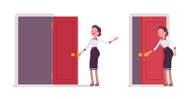 Set van jonge aantrekkelijke secretaresse openen en sluiten van de deur