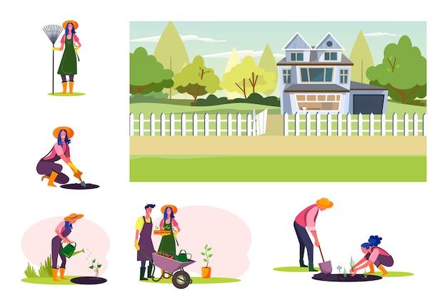 Set van jonge grangers werken bij boomgaard