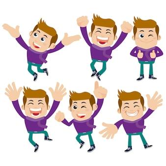 Set van jonge man karakters in verschillende poses