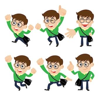 Set van jonge man tekens met verschillende poses.