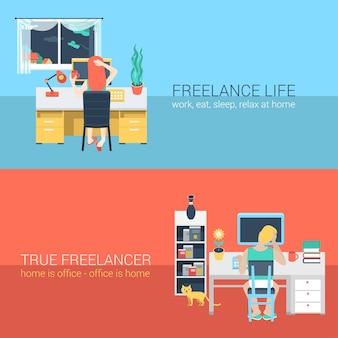 Set van jonge man vrouw kantoor aan huis freelance huiswerk laptop tafel werkplek achteraanzicht. platte mensen levensstijl situatie thuis werken concept. illustratie collectie van jonge creatieve mensen.