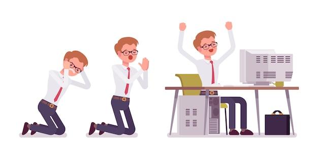 Set van jonge mannelijke bediende in office-scènes
