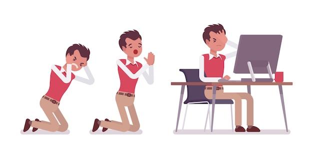 Set van jonge mannelijke kantoormedewerker in scènes