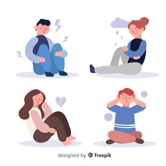 Set van jonge mensen emoties