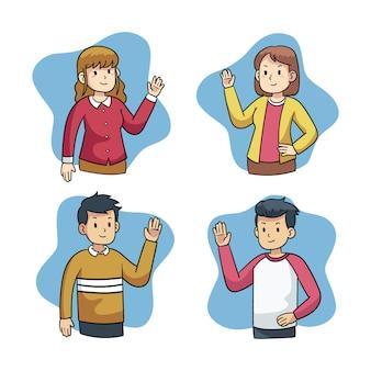 Set van jonge mensen hand zwaaien