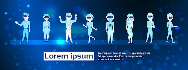 Set van jonge mensen silhouet dragen van 3d virtual reality bril over abstracte futuristische achtergrond moderne vr technologie concept