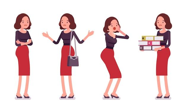 Set van jonge secretaresse met negatieve emoties, achterste, vooraanzicht